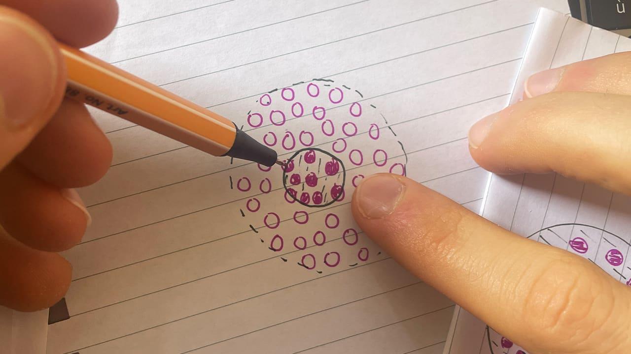 Jérémy dessine un cercle beaucoup plus petit.