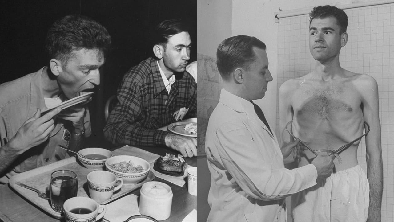 2 hommes mangent et un autre se fait mesurer son tour de taille par un scientifique.