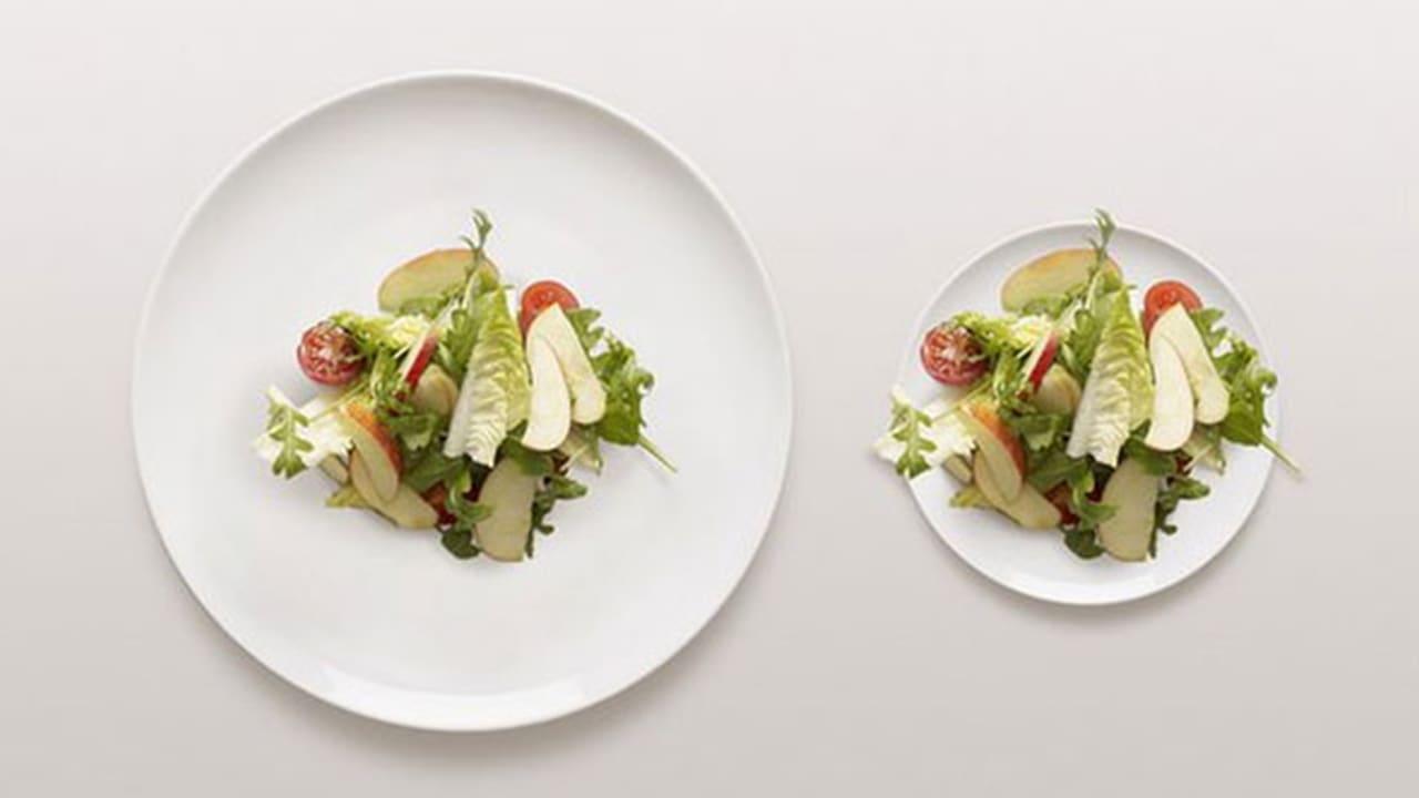 Deux assiettes de salades, une grande assiette avec peu de nourriture à gauche et une plus petite à droite avec la même quantité de nourriture. Elle semble plus remplie.