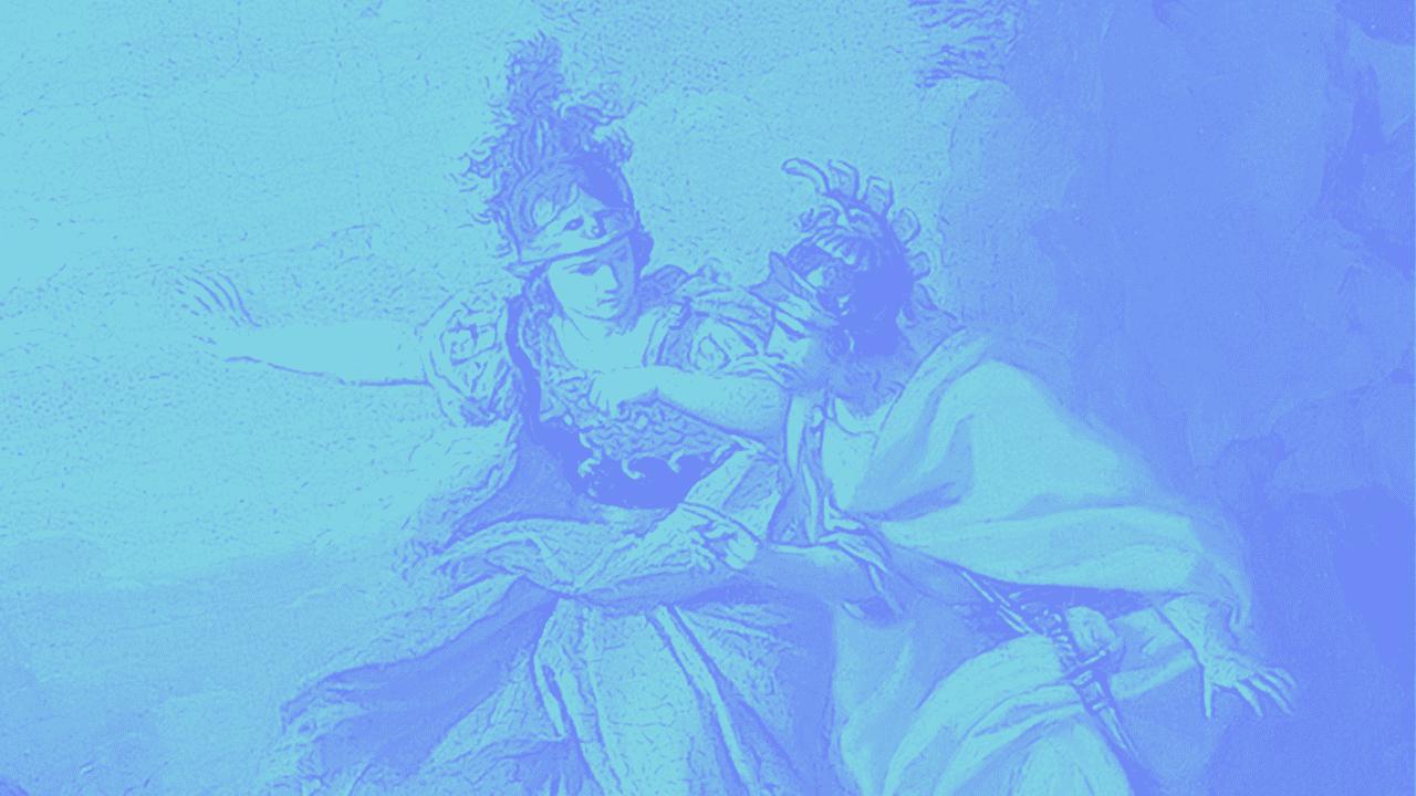 Peinture abstraite du dieu grec Appolo aux couleurs vives.