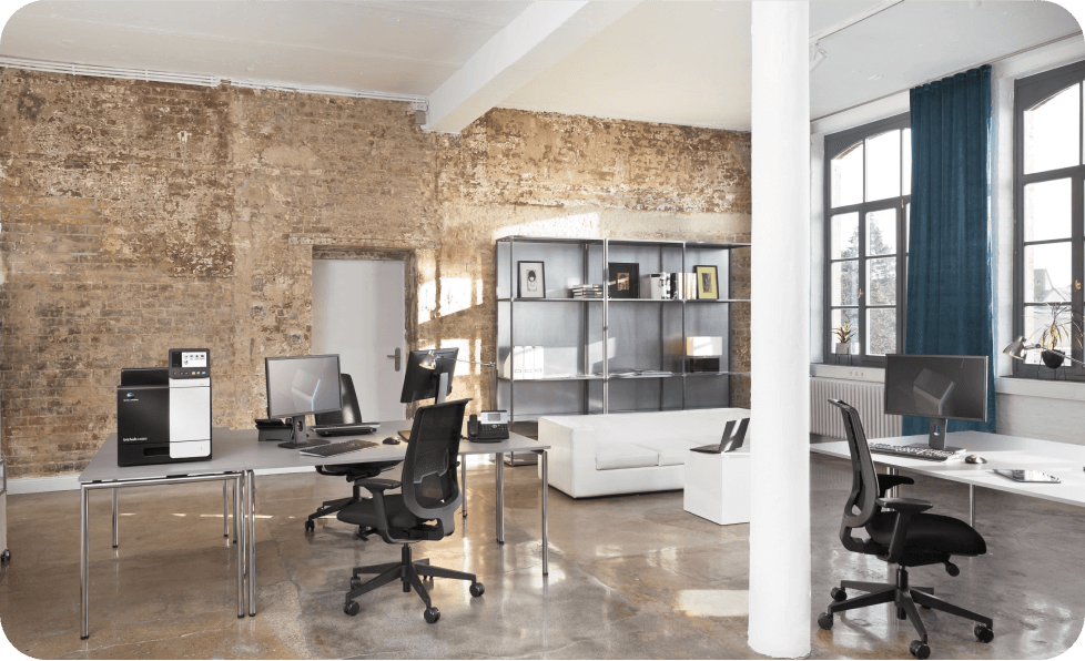 Office with a brick wall