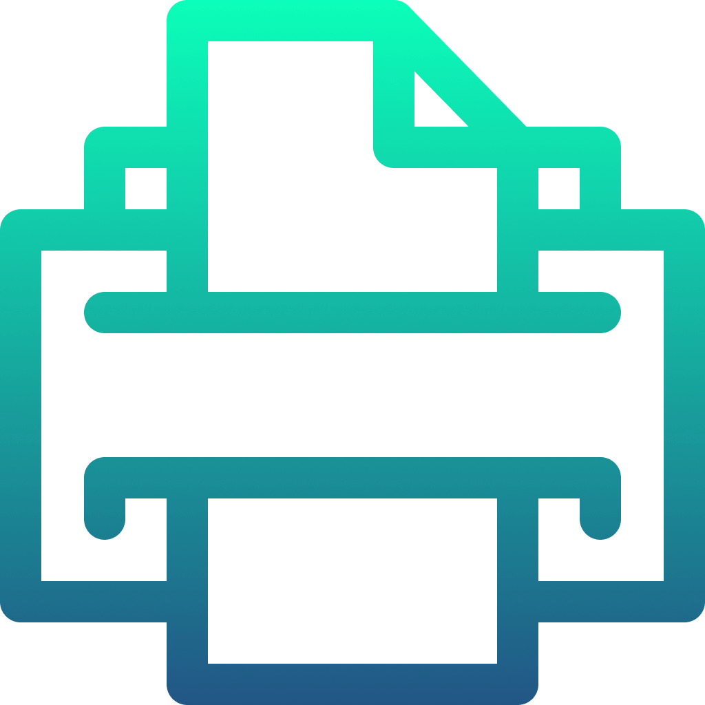 blue and green printer icon
