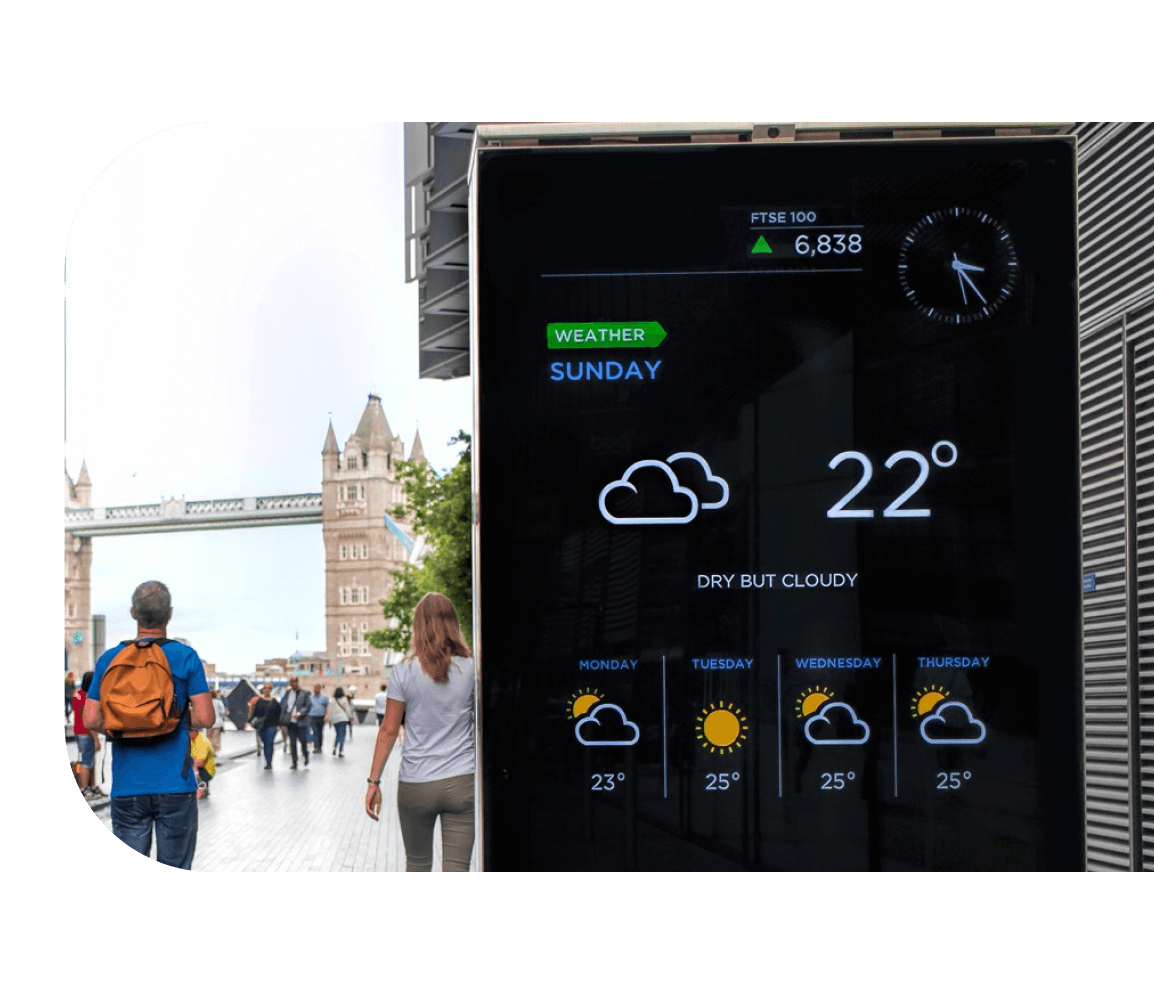 Tourists and weather digital screen