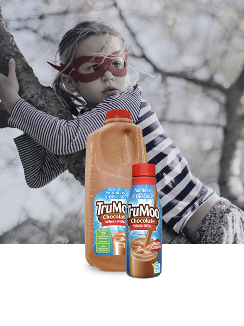 chocolate milk bottles with girl wearing mask