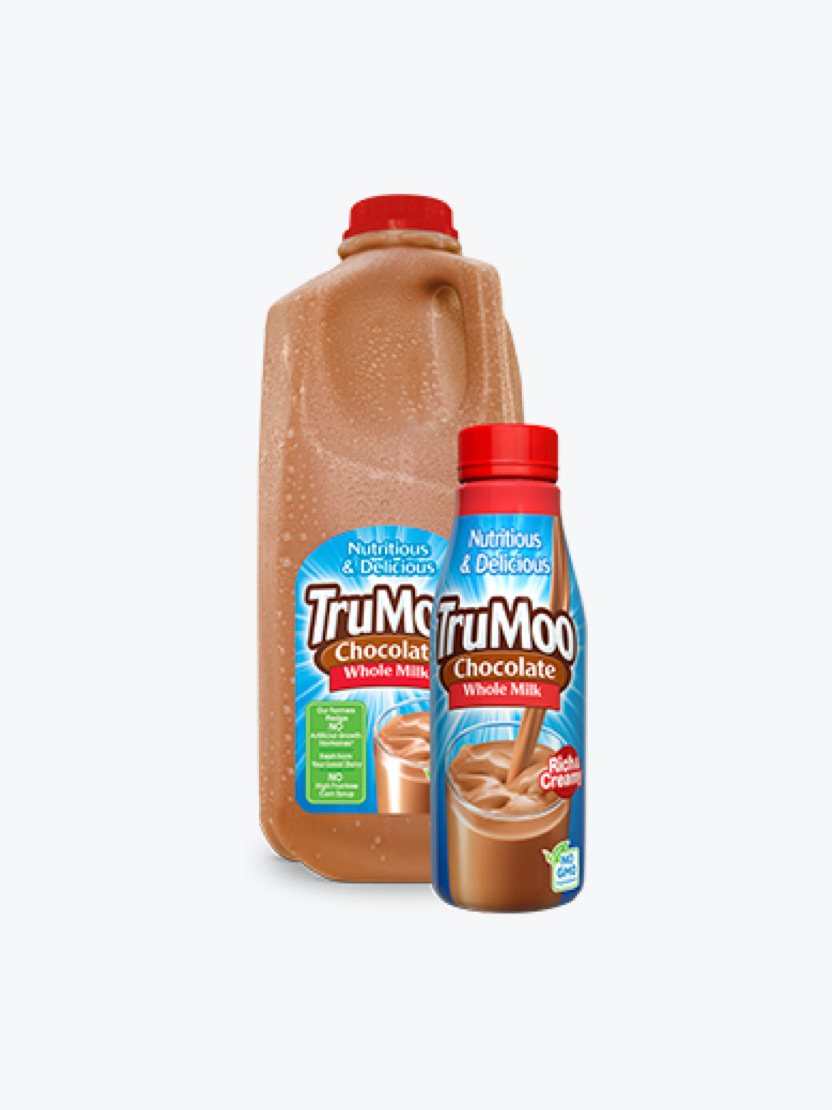 half gallon jug and single serving bottle of chocolate milk