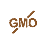 GMO letters with diagonal line intersecting