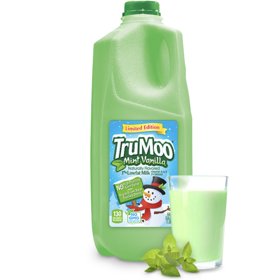 green half gallon bottle with glass and mint