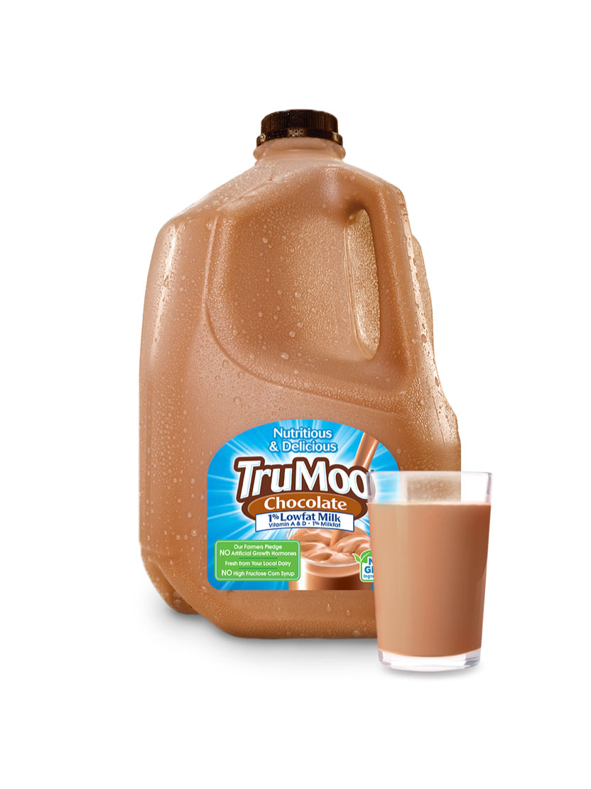 gallon jug of chocolate milk with glass and splash illustrations