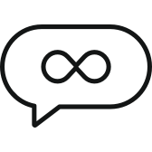 Chat bubble icon with infinity symbol representing unlimited languages