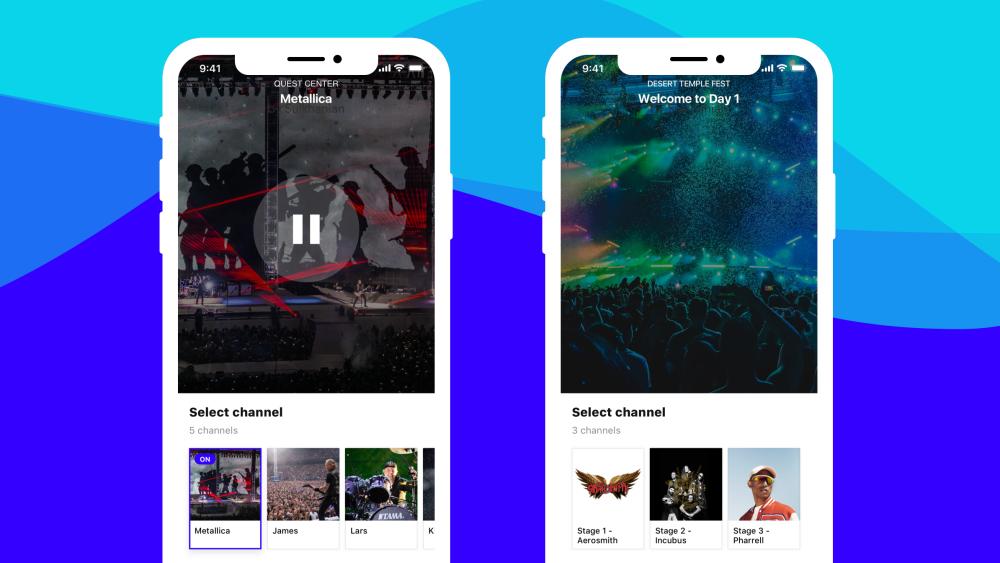 Screenshot of two smartphones showcasing the Mixhalo app