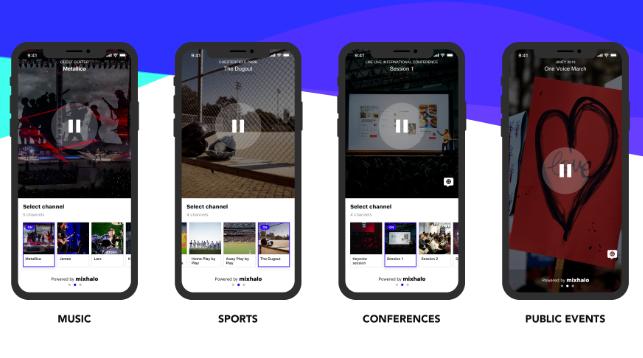 Screenshot of four smartphones showcasing the Mixhalo app