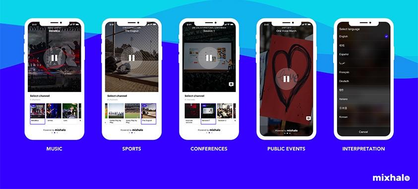 Screenshot of five smartphones showcasing the Mixhalo app