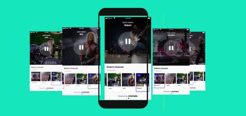 Screenshot of five smartphones scrolling through the Mixhalo app