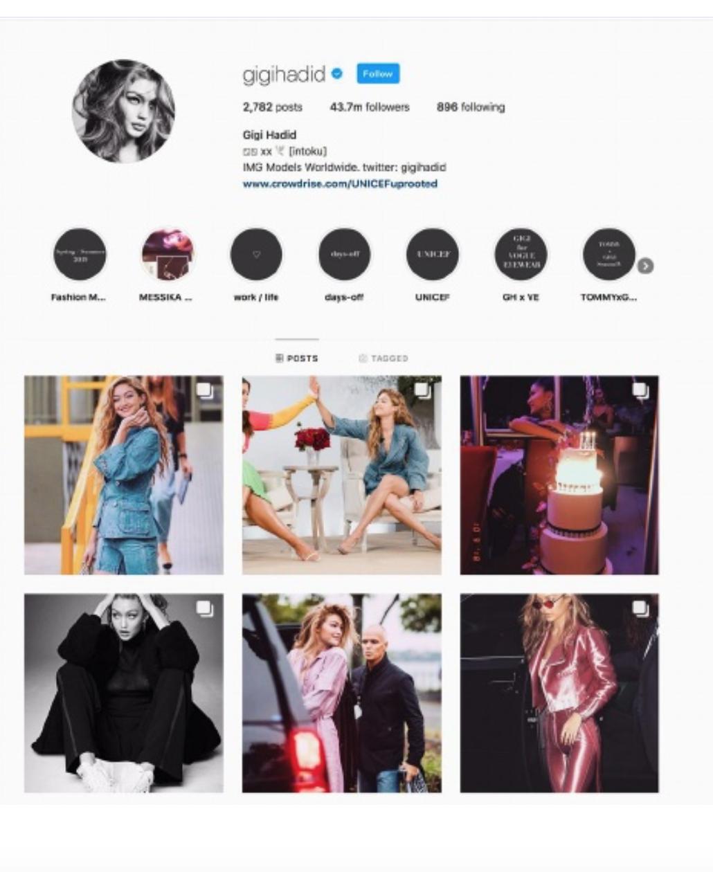 Gigi Hadid Social Media Post