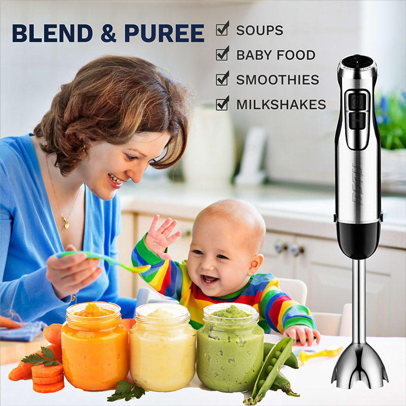 blending and pureeing foods with hand blender