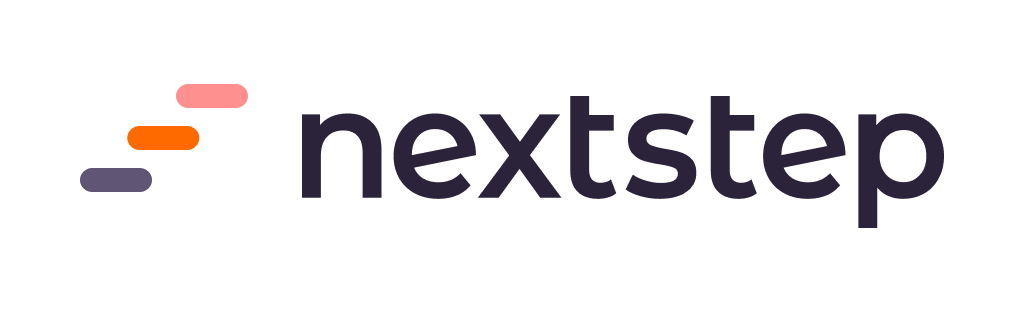 NextStep logo of three colorful steps up and the nextstep wordmark in a dark purple