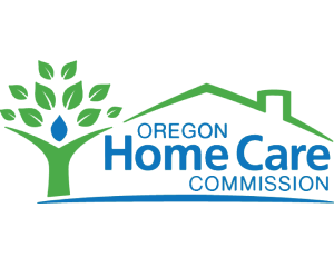 Logo that has a tree-like person on the left with a roof and chimney over the words Oregon Home Care Commission