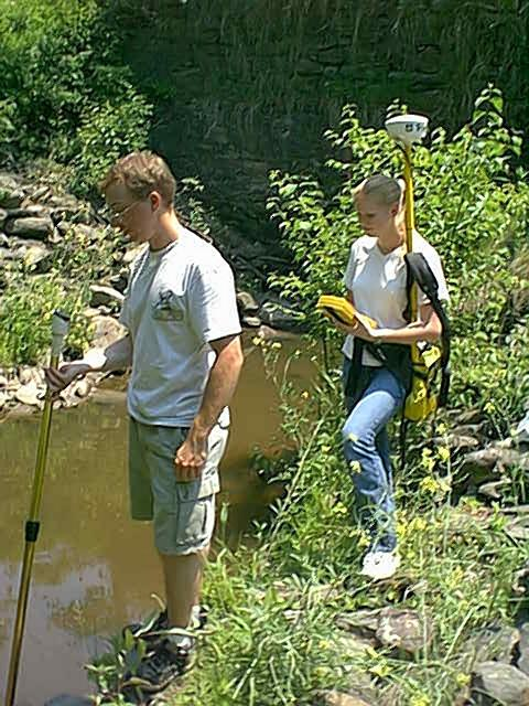 Students using GPS and Global Water Flow Probe