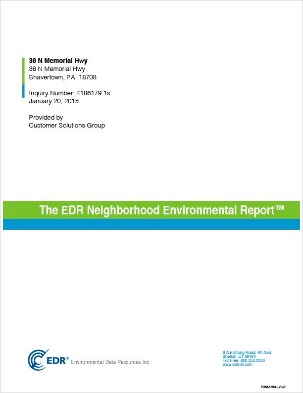 Neighborhood Environmental Report First Page
