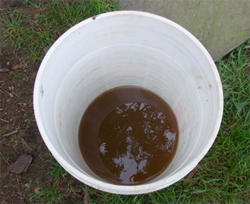 brown and black discolored maganese water
