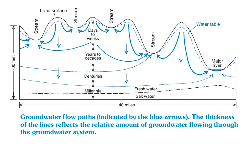 Groundwater flow paths
