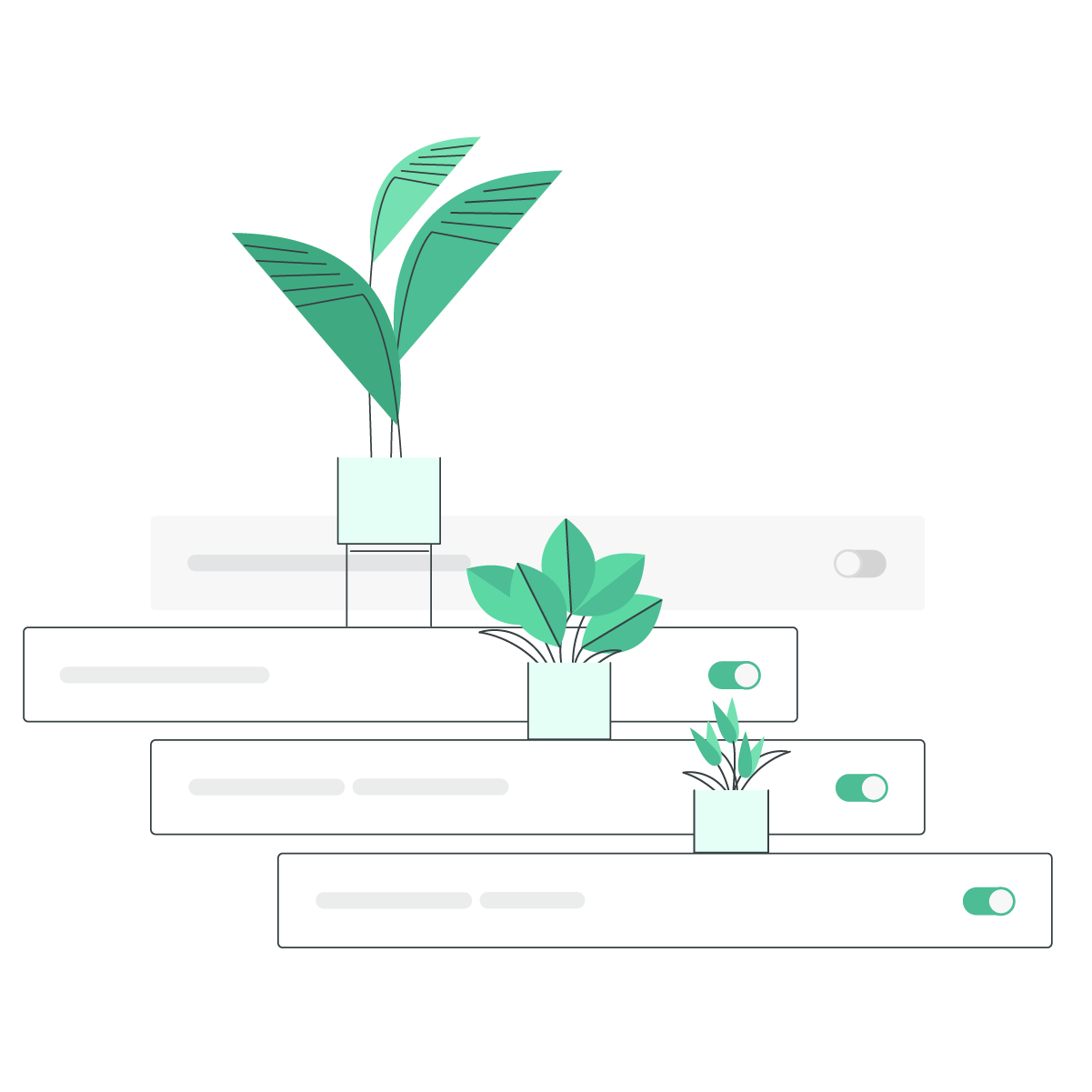 An illustration of a series a four potted plants, each progressively larger than the previous.