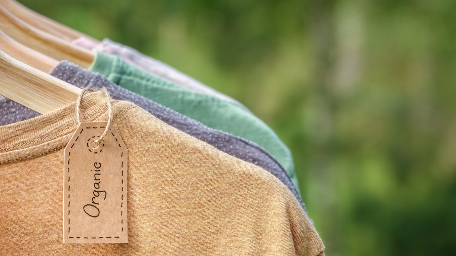 Organic clothes. Natural colored t-shirts hanging on wooden hangers in a row. Eco textile tag