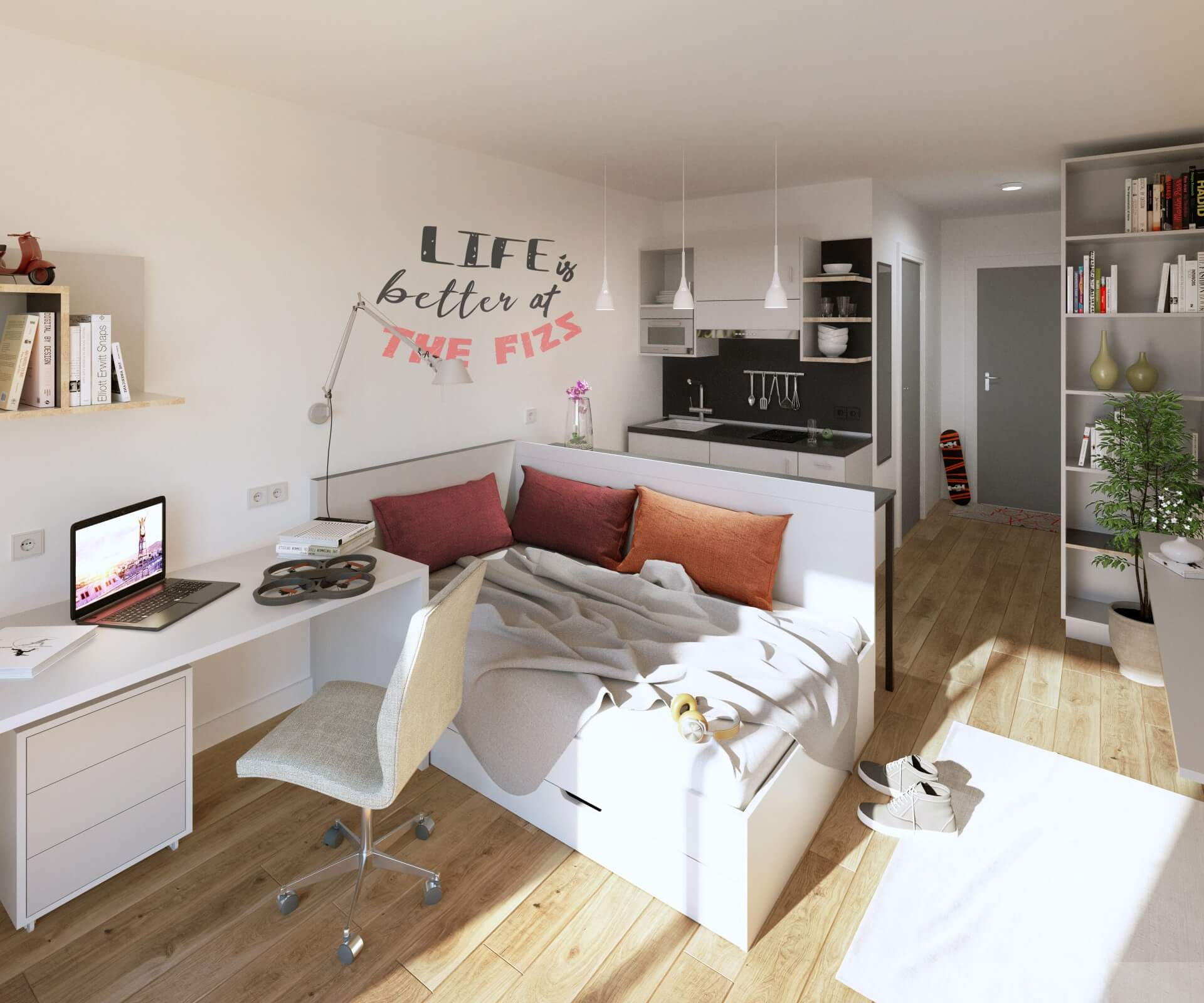 THE FIZZ Vienna Main Station: Single Studio with private kitchen and bathroom. Your student apartment!