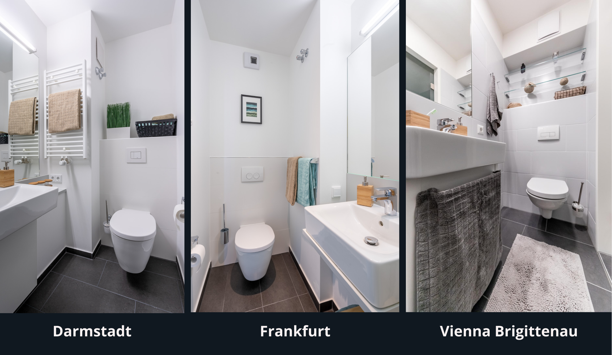 Three different pictures showing the toilet seat at Darmdtadt, Frankfurt and Vienna Brigittenau in almost the same perspective - from the front.