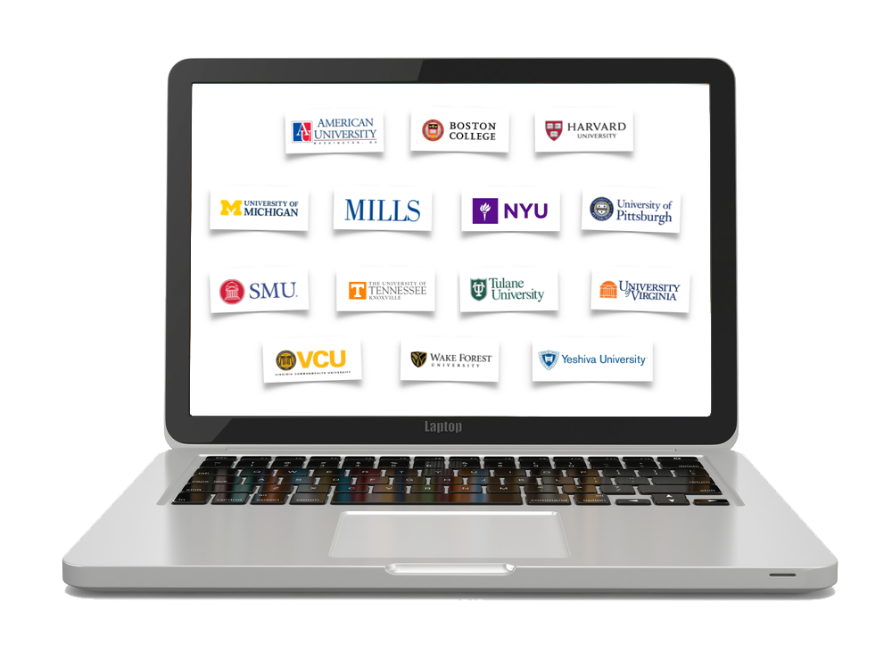 Noodle laptop with partner university logos