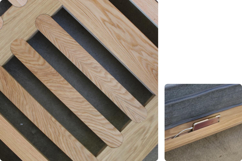 Eva timber bed frame slats and phone holder