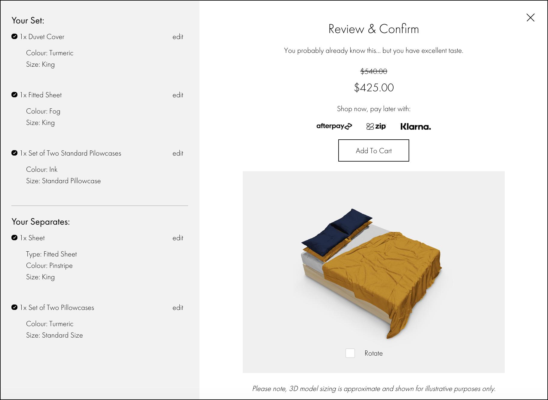 Bed Threads Build a Bundle Checkout