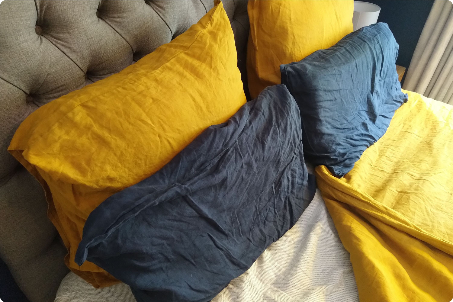 Bed Threads flax linen sheets in Ink and Turmeric