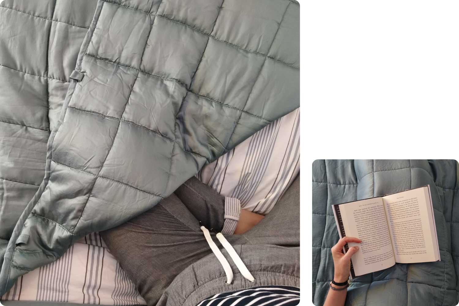 Calming blanket on bed while reading book