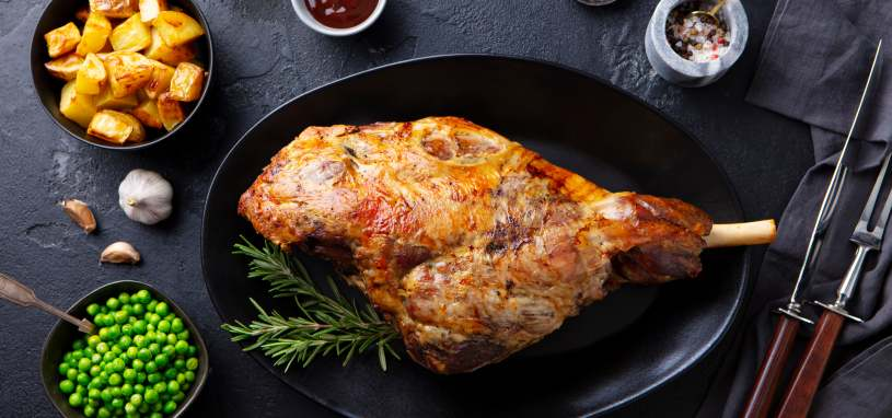 lamb roast leg with side dishes