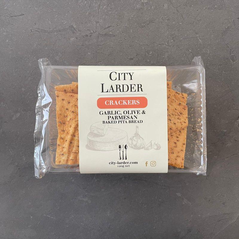 City Larder Pita Crisps Garlic Olive & Parmesan