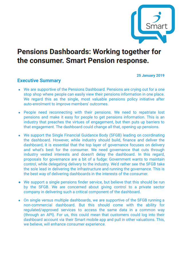 Smart Pension's response to the DWP's consultation on the Pensions Dashboard