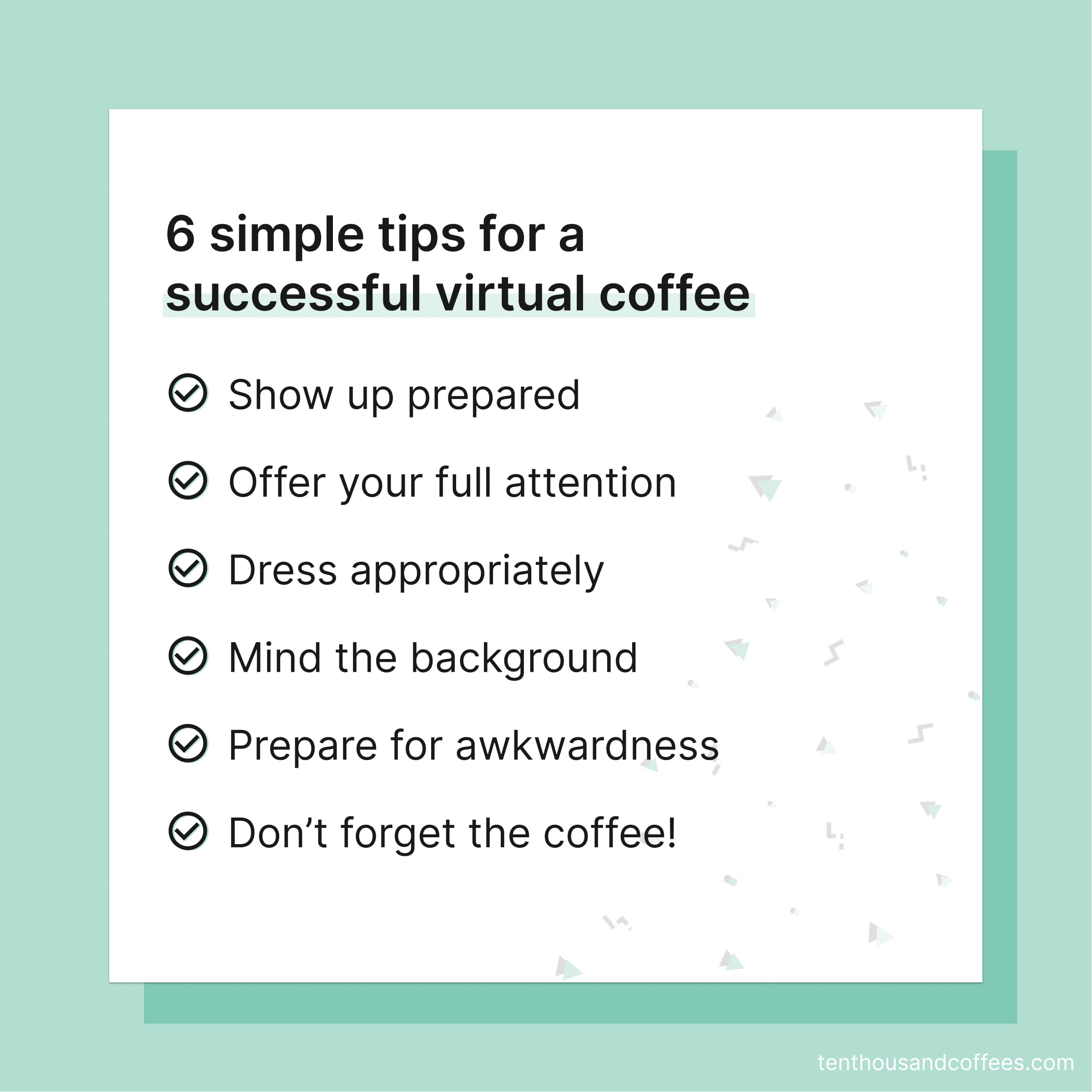 6 tips for a successful virtual coffee