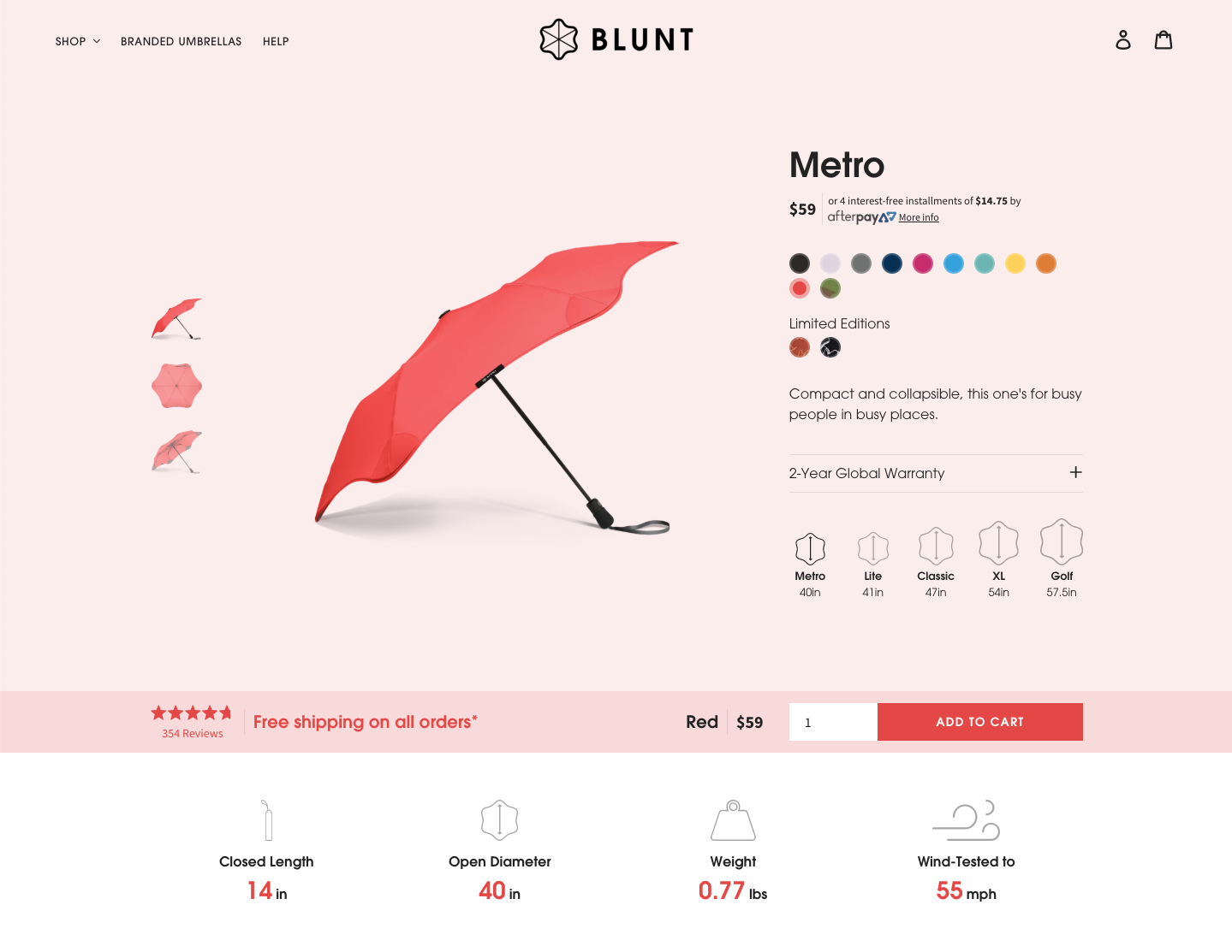 Blunt Umbrellas USA Redesign
