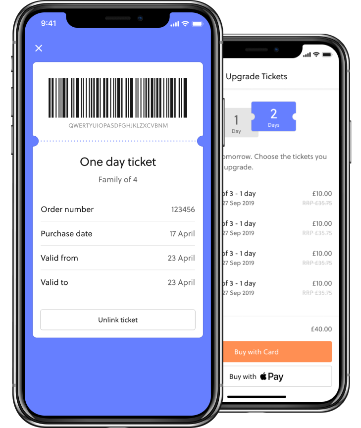 In-app ticketing theme park
