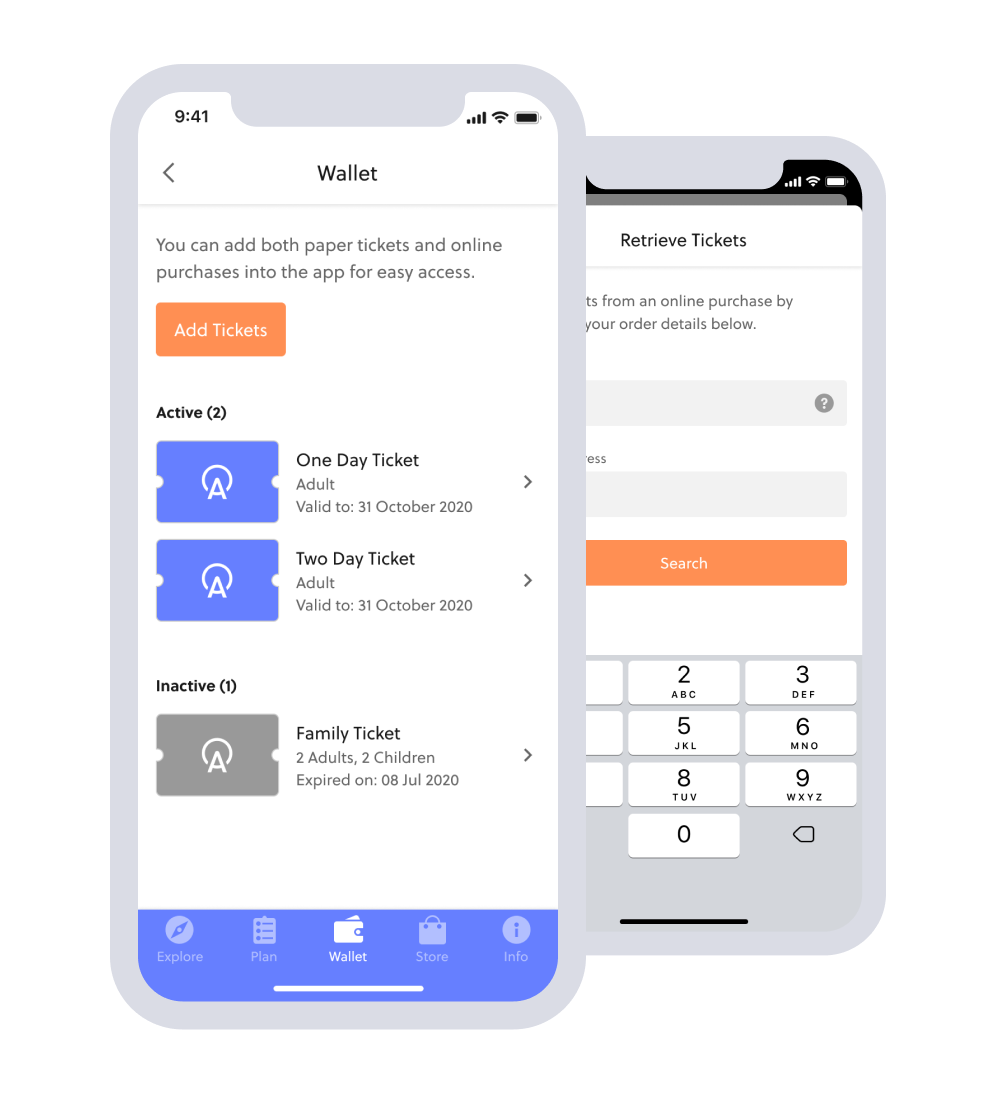 In-app ticketing visitor attraction