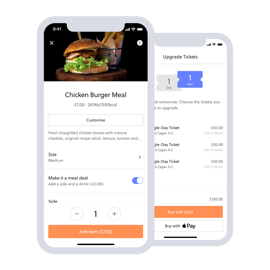 Mobile food ordering menu and upgrading tickets