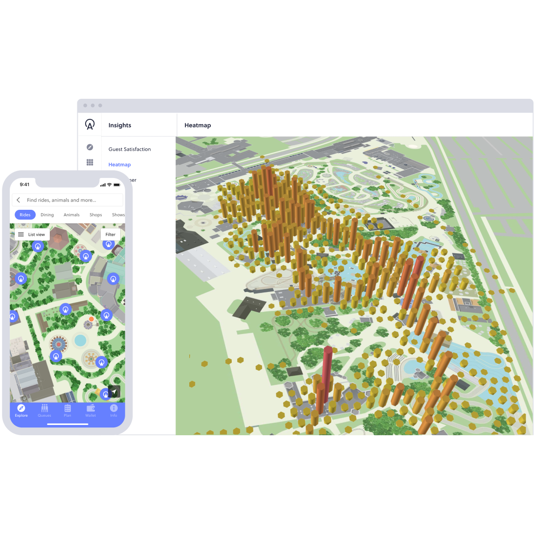 Wayfinding screen and heat map data