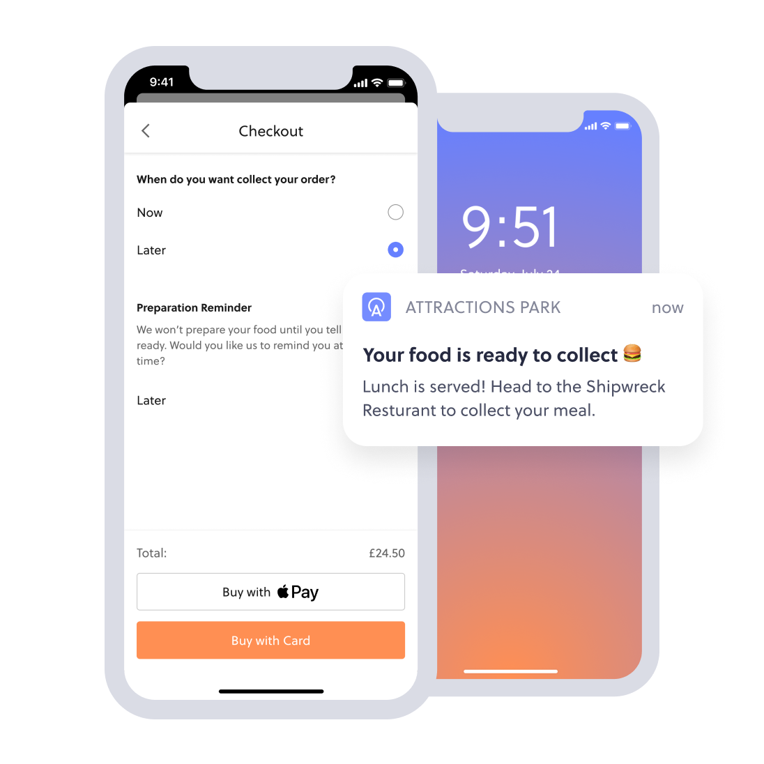 mobile food ordering collecting screen with notification