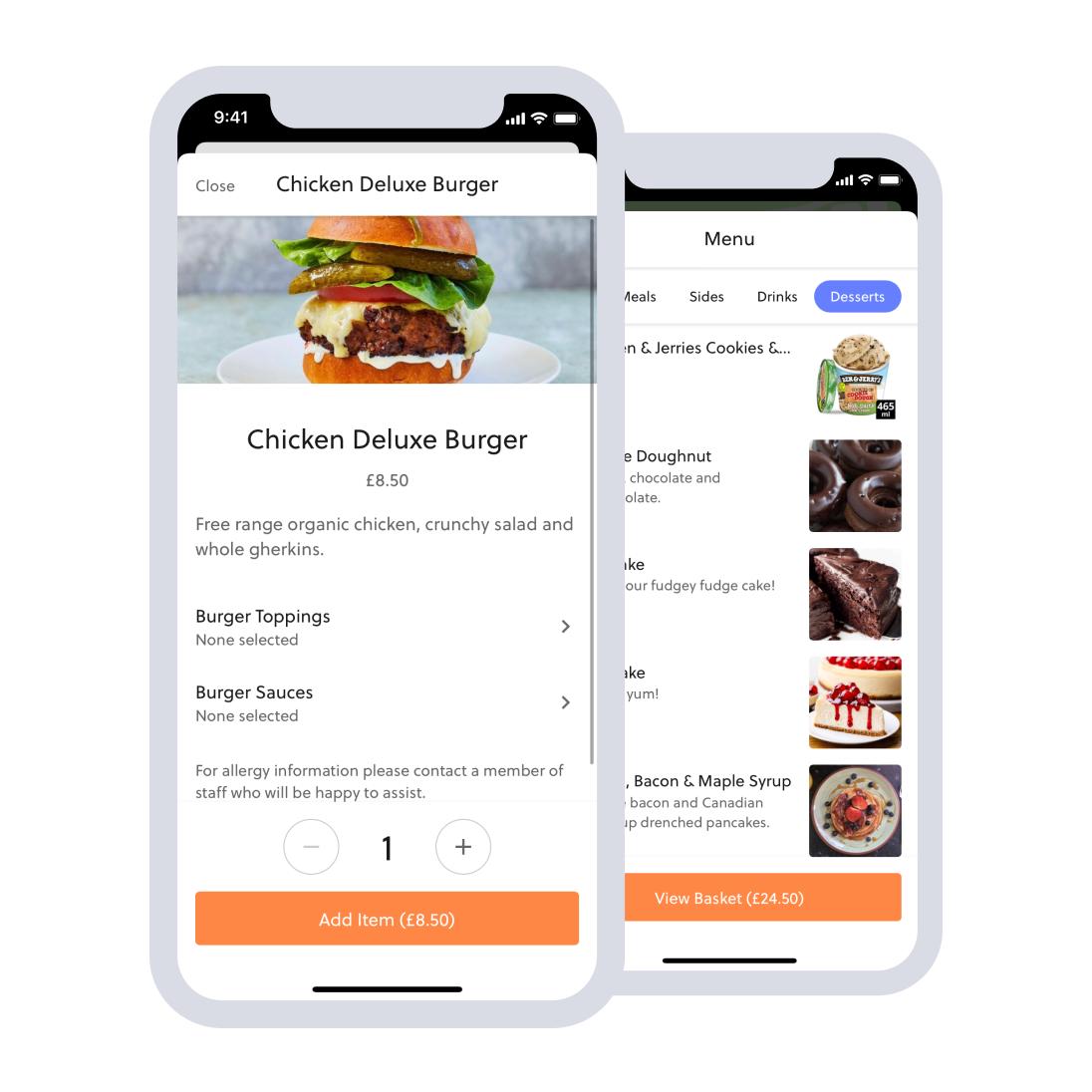 mobile food ordering in app menu