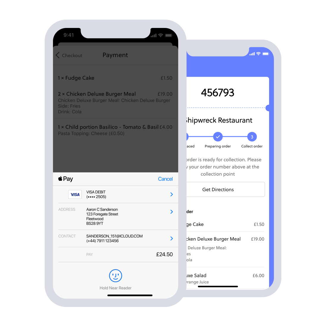 mobile food ordering payment screen