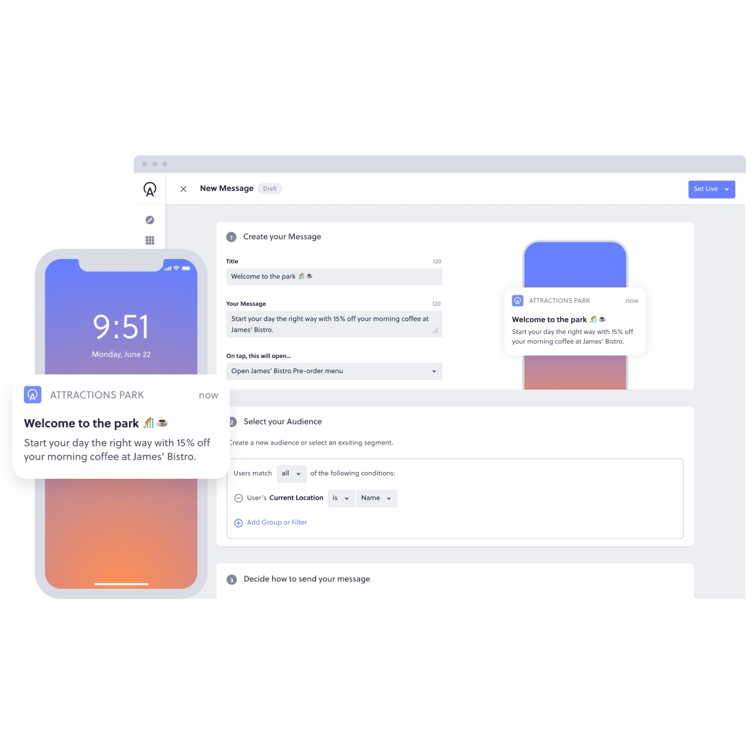 build in app messages and notifications on platform