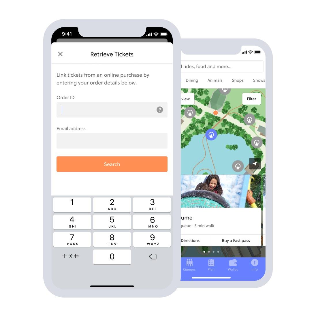 retrieve tickets and digital map