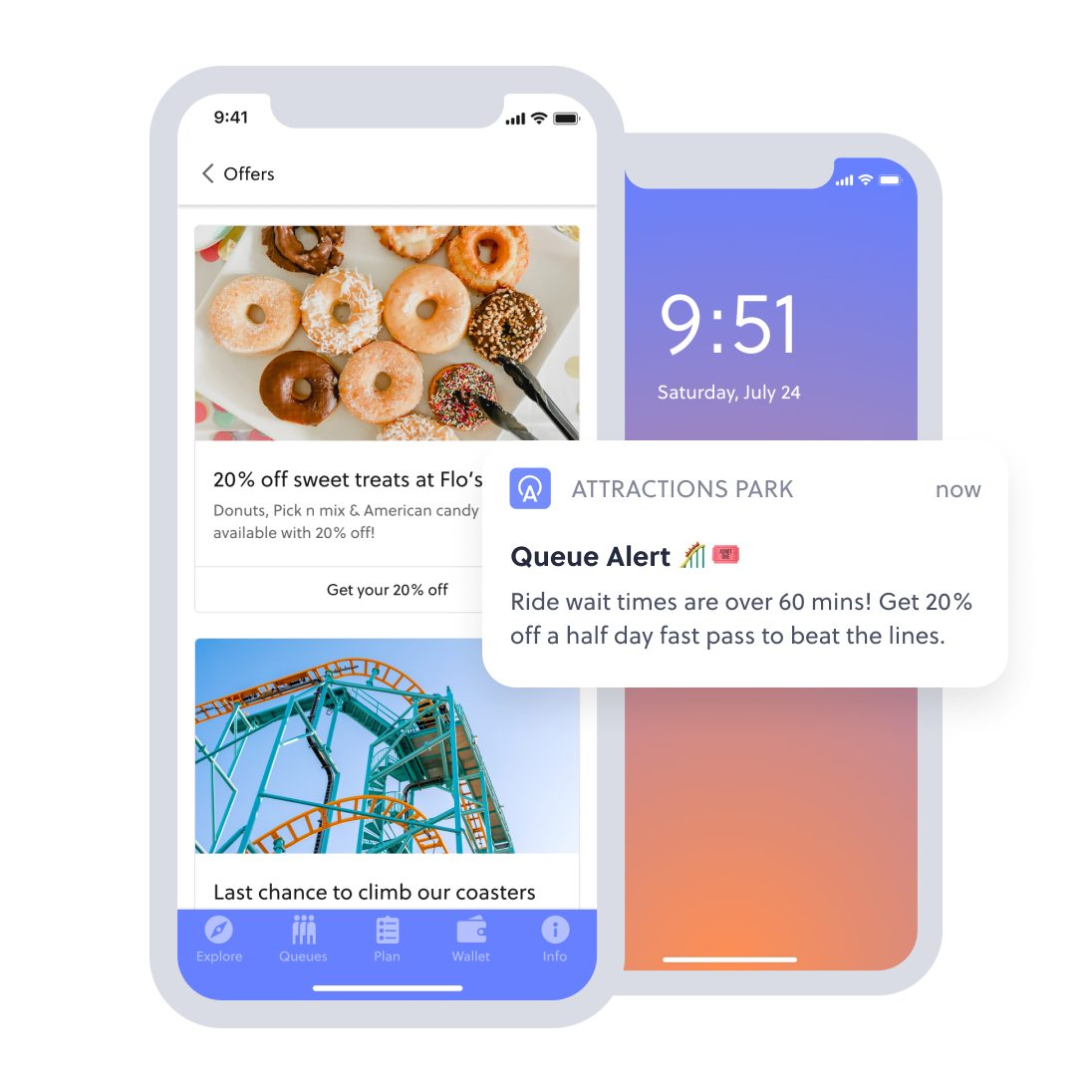 in-app only offers and push notification selling fast pass tickets