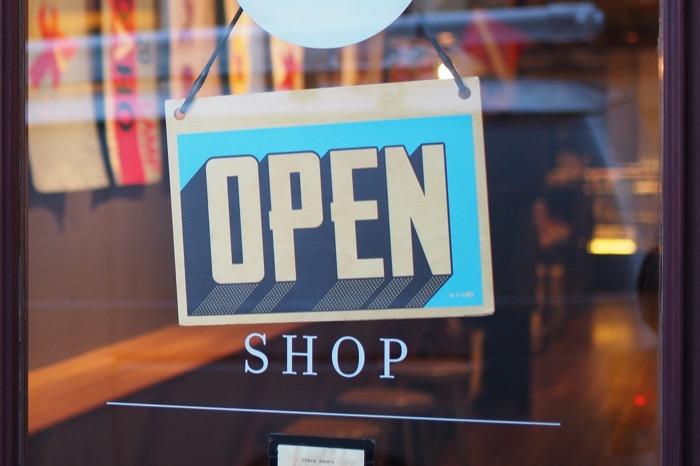 Open sign on shop entrance